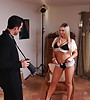 Classy blonde babe takes her sexy lingerie off and gets pumped by big meat pole.