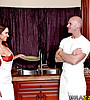 Busty brunette babe strips her classy lingerie and fucks hard with bald dude.
