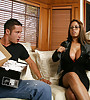 Big breasted classy MILF takes her black robe off and rides a massive schlong.
