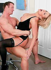 Naughty and classy blonde doctor screws with her patient in black stockings