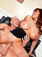 Busty brunette gal takes her sexy lingerie off and fucks with hung bald dude