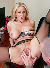 Busty blonde slut strips in the office and fucks with her well hung horny lover