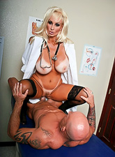 Slutty big breasted mature doctor takes her uniform off and gets nailed roughly