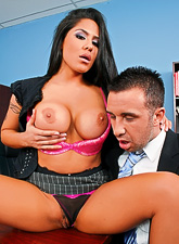 Big breasted office whore seduces her handsome boss and rides his hard rod.