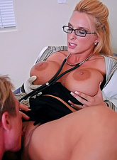 Big breasted blonde doctor takes her coat off and gets her muff nailed hard.