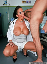 Attractive brunette doctor takes her uniform off and fucks with a horny patient.