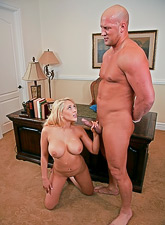 Big breasted blonde lady takes her blue dress off and rides a big hard boner.