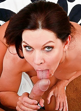 Good looking mature vixen takes her clothes off and rides a big hard meat pole.
