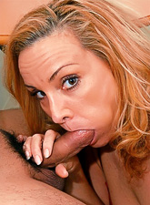 Busty blonde MILF lady takes her clothes off and gives a fantastic blowjob.