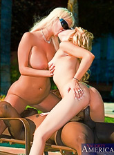Smoking hot blonde babe and her lusty friend take their clothes off and share a cock