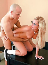 Alluiring blonde schoolgirl strips her mini skirt for her teacher and rides his cock.