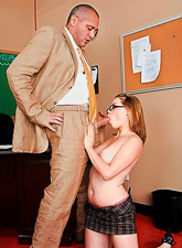 Hot busty schoolgirl takes her mini skirt off and blows her teacher's hung fat boner.