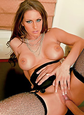 Classy MILF babe takes her clothes off and gets roughly fucked in black stockings.