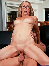 Slutty blonde mature lady takes her clothes off and swallows a throbbing meat pole.