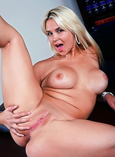 Busty blonde hottie screams very loudly a she gets screwed hard by massive black cock