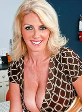 Big breasted blonde MILF babe takes her red lingerie off and gets fucked hard.