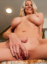 Busty blonde chick takes her lingerie off and gets banged by hard stiff boner.