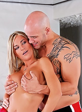 Attractive blonde slut takes her red tight dress off and fucks a bald hung stud.