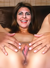 Horny brunette milf with saggy boobs and a hot shaved pussy fingering and teasing