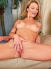 Hot blonde milf with tight round tits and a small tight shaved pussy fingering