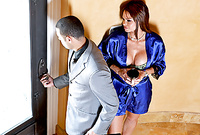 Rhylee Richards strips her sexy blue satin robe off and then sucks her lover's big cock