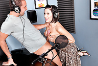 Juelz Ventura takes her sexy dress off in the radio studio and sucks a big throbbing meat pole
