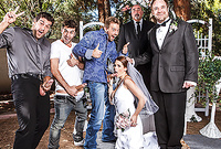 Allison Moore takes her sexy white wedding dress off and then gets gang banged by couple of guys
