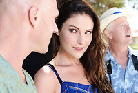 Samantha Ryan strips for her handsome bald lover and then passionately slurps on his big piece of hard meat