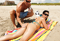 Diamond Kitty takes her bikini off on the beach and shows us her fantastic piece of tight ass