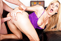 Amy Brooke takes her sexy purple lingerie off and gets her wet vagina nailed hard and fast
