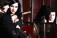 Abbie Cat strips her classy black elegant dress and fucks with dominant, handsome dude