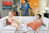 Blake Rose takes her sexy summer dress off and gets screwed by her handsome well hung lover on the sofa