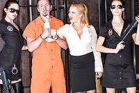 Krissy Lynn takes her classy outfit in the prison cell and fucks with a prisoner and guards
