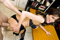Veronica Avluv strips her expensive black lingerie off and gets her asshole drilled roughly from behind