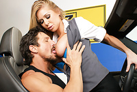Brynn Tyler takes her tight skirt off and gets her shaved vagina drilled by her lover's big throbbing piece of meat