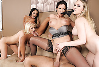 Alexis Ford, Angelina Valentine ,Kagney Linn Karter and Phoenix Marie strip together and then have amazing passionate sex