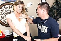 Samantha Saint takes all of her clothes for her hung lover and then treats him with an amazing blowjob