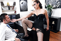 Miko Lee wears sexy corset and black stockings while she gets her hungry muff drilled by her handsome hung lover