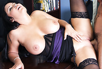 Sophia Lomeli spreads her sexy legs in stockings and gets her shaved vagina drilled by big piece of meat