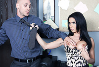 Jessica Jaymes takes her slutty dress off and gets her hungry vagina drilled by big piece of wood
