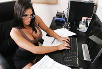 Mackenzee Pierce takes her slutty brown and black dress off and shows us her amazing big jugs in the office
