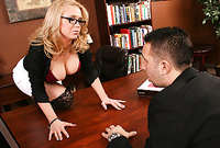 Dylan Riley takes her slutty clothes off and then gets screwed by her handsome lover on the desk