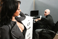 Mya Nichole strips her sexy grey business suit off and then pleases her handsome lover with an amazing deep blowjob