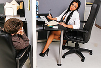 Audrey Bitoni takes her classy outfit in the office and then sucks her lover's throbbing piece of meat