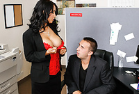 Isis Love takes her classy business outfit in the office and sucks her lover's big throbbing meat pole