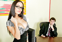 Angelina Valentine takes her sexy blue dress off and gets her hungry muff drilled by big piece of hard wood