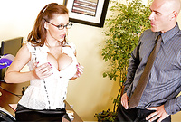 Jenna Presley strips her lingerie off for the camera and then sucks her lover's big throbbing meat pole