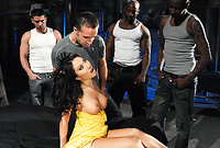 Asa Akira takes her sexy yellow dress off and gets screwed by hung black thugs
