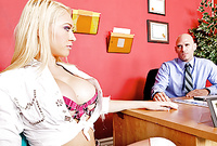 Kagney Linn Karter strips her slutty mini skirt and gets her hungry vagina drilled hard from behind