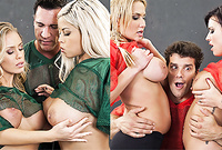 Alanah Rae, Bridgette B, Eva Angelina and Nicole Aniston strip their jerseys and get fucked by the same hung bloke